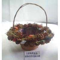 Handmade basket,artificial crafts for holiday gifts ornaments and decoration,branches and bark and seeds made Manufactures
