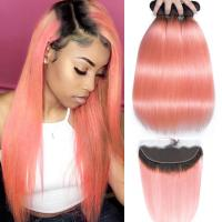 Pink Front Ombre Human Hair Extensions Silk 10A Grade Tangle / Shedding  Free Manufactures