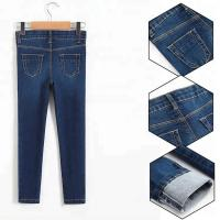 China Slim Fit Style Whisker Baby Girl Jeans Pants With Sequin Patch Design on sale
