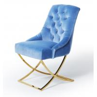 China Golden X Cross Metal Legs Furniture Dining Room Chairs Blue Velvet Fabric Button Tufted on sale