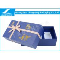 China Purple Small Cardboard Gift Boxes With Lids Texture Paper Bowknot Design on sale