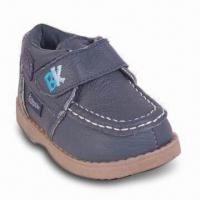 Boy's Baby Leather Shoes with TPR Outsole, Stitching and Embroidery Ornaments Manufactures