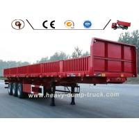 3 Axle 50 Ton 40Ft Flat Bed Side Wall Trailer Lorry , Steel Cargo Trailer Manufactures
