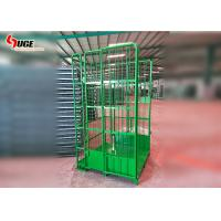 Green Powder Coated Roll Container Trolley  ,  Mobile Cage Trolley Manufactures