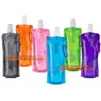 Spouted flexible foldable water bag with carabiner for running, flexible printing and lami Manufactures
