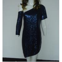 Navy Bling Bling Sequin Club Dresses , Classy Club Evening Dresses Lightweight Manufactures
