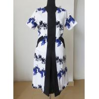 Center front black panel print flower cotton dress ladies fashion clothing for Summer Manufactures