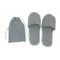 Portable Disposable Airline Amenity Kit / Foldable Open Toe Slippers With A TC Fabric Pouch Manufactures