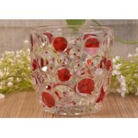 Home Decorative Glass Candle Holders  , Glass Candlestick Holders Hobnail Dots Emboss Manufactures