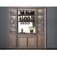 Custom Public aera Furniture Walnut wood Built in Wall Wine Display Cooler and Hall Concierge cabinet Manufactures