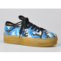 China Camouflage High Womens Casual Flat Shoes , Blue and Lace-Up For Walking on sale
