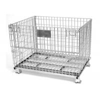 China Collapsible Galvanized Storage Wire Mesh Container Steel Cage Pallet Box on sale