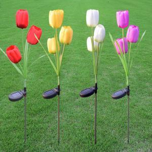 China Outdoor Solar Walkway Lights, 3LED Tulip Flower Solar Light Yard Decorations on sale