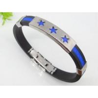 Blue Rubber Silicon stainless steel bangle Bracelets with Stars 1750013 Manufactures
