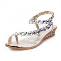 China Sweet Rhinestone Bohemian Style Sandals Clip Toe Wedge Heel Slipper on sale