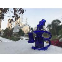 Blue Showerhead Perc Glass Smoking Pipes , 5 Inches Klein Recycler Water Pipe For Smoking Manufactures