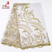 Heavy Tulle Beaded Embroidered Lace Fabric For Bridal Dress Azo Free Dyeing Manufactures