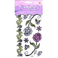 Flower Design washable Glitter Temporary Tattoo with Non - toxic ink printing body art Manufactures