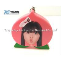 Cute Pink Peach Shaped Musical Keyring Custom Talking Keychain for sale