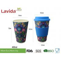 Dishwasher Safe Food Grade Bamboo Takeaway Cups Smelless With Grip Ring / Silicon Lid Manufactures