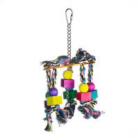 bird kabob toys with acrylic pan and wooden beads on cotton ropes for cockatiel Manufactures