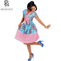 Cotton African Print Dresses Women Ankara Striped Cloth Stitching Batik Printing Dress Manufactures