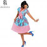 Cotton African Print Dresses Women Ankara Striped Cloth Stitching Batik Printing Dress Manufactures