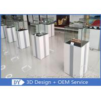 MDF Square Custom Glass Display Cases  With Light / Museum Display Pedestals Manufactures