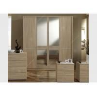 Oak Wood Veneer Hotel Room Wardrobe Four Doors Large Size High Grade With Mirrors Manufactures