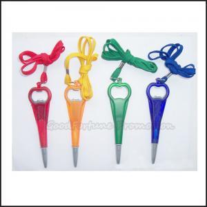 China Promotional customed printed logo lanyard bottle opener ballpoint pen gift on sale
