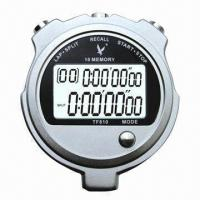 China Metal Stopwatch with 2 Rows and 10 Memories LCD Panel and Alarm Function on sale