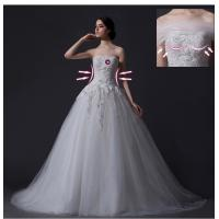 Custom Detachable Strapless Mesh Appliques Wedding Dress with Diamond Beaded Manufactures