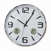 Wall clock with indoor or outdoor thermometer and weather forecast
