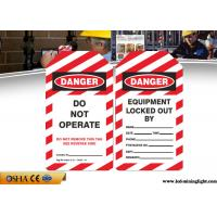 Osha Danger PVC Lock Out Tags With English Language Red / White Color Manufactures