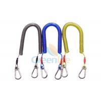 China Stretchable 3 Meter New Fishing Tackle Protection Spring Coiled Leash With 2 Carabiners on sale