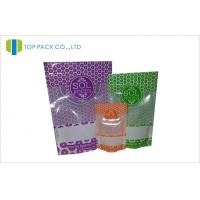 28g / 150g / 250g Ziplock Stand Up Pouches Plastic Customized Printed Visual Window Manufactures