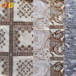 Metallic Printed PVC Transparent Film Lace Tablecloth Various Flower Designs Manufactures