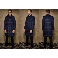 Single Breasted Button Stand Collar Kahki Winter / Autumn Wool Coat Wide Laple Manufactures