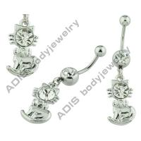 China OEM Or ODM Surgical Steel / Alloy Dangle Belly Ring Hibiscus Flower ADBL-0014 on sale