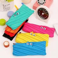 China Cute Cartoon Canvas Pencil Pouch With Zipper , Big Eyes Monster Kids Pencil Bag on sale