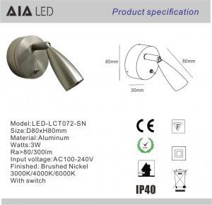 Wall mounted headboard wall light led bedside wall light 3W & led reading wall light for hotel Manufactures