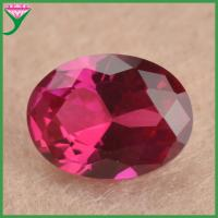 high quality polished 8*10mm 5# red color oval cut imitation synthetic rough ruby gemstone Manufactures
