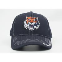 Quality Dark Blue 3D Embroidered Cotton Baseball Caps With Bronze Metal Buckle Closure for sale
