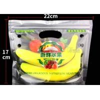 Plastic Perforated Stand Up Ziplock Bags , Transparent Fruit Packing Bags Manufactures