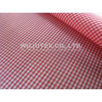 Good Quality Cotton Nylon Fabric / Spandex Check Fabric Plain Weave Red / White Manufactures