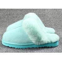 Anti Slip Ladies Sheepskin Mule Slippers , Ladies Wool Lined Slippers With Soft Leather Sole Manufactures
