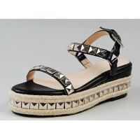 China Customized women leather shoes woven hemp rope flatform sandals with rivet shoes exporter on sale