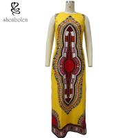 100% Cotton Traditional African Print Women's Clothing Dresses With 2 Side Slit Manufactures