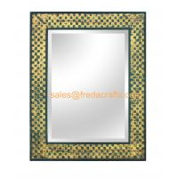 FR-16045 High Quality  Grid Design Decorated Rectangular Sitting Living Room Wall Hanging Mirror Manufactures