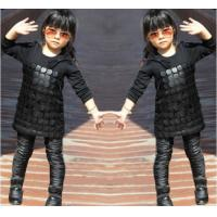 Knit Black Winter Party Dresses For Girls , 7 To 8 Years Girl Dress Pu Leather Front Manufactures